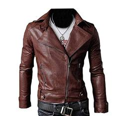 LeNG Men's Ultimate PU Leather Motorcycle Rider Bomber Jacke