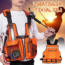 US Adult Adjustable Fishing Vest Life Jackets For Kayak Refl