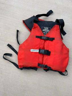 USED ADULT EXTRASPORT UT5 RED/BLACK LIFE JACKET. WHITE WATER