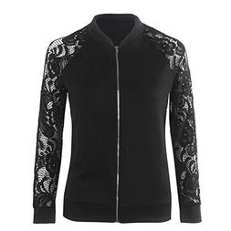 AUUOCC White Lace Zipper Jacket Outerwear Ladies Coats Femme