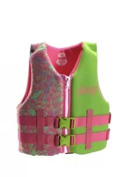 Speedo Youth Girl Pink/Green Neoprene Life Jacket Vest Prese