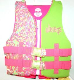 Youth Life Jacket - Speedo 50 - 90lbs Green & Pink